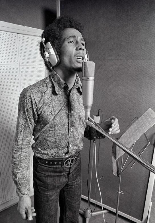 Bob Marley in a recording studio in London, 1972.