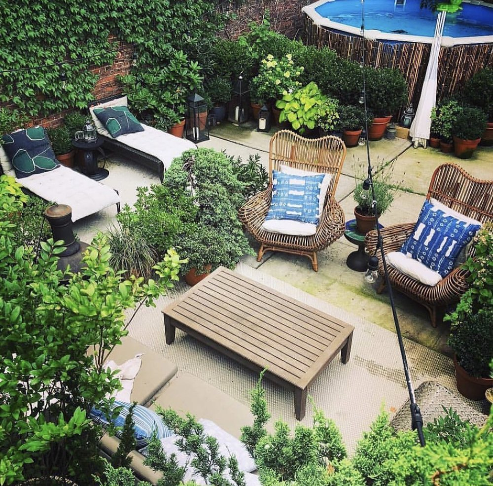 Mel's gorgeous outdoor space with above ground pool as seen on Bravo's Backyard Envy.