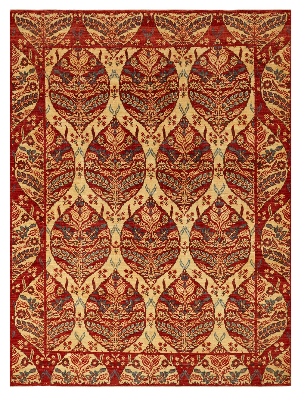 Pasha Red Gold, Afghan, 9' x 12'
