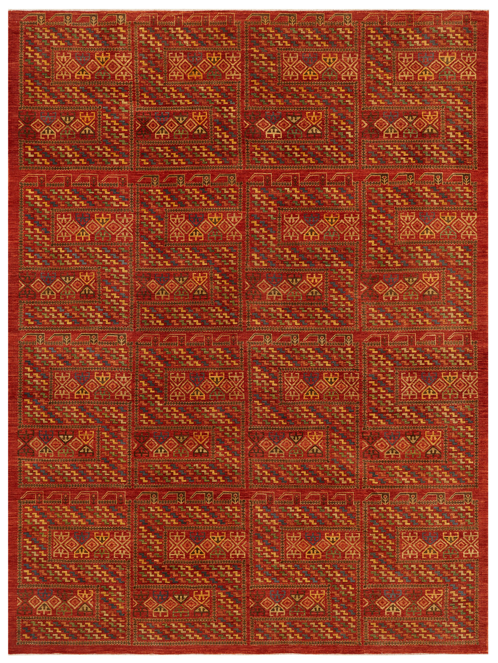 Senneh, Afghan, 9' x 12'