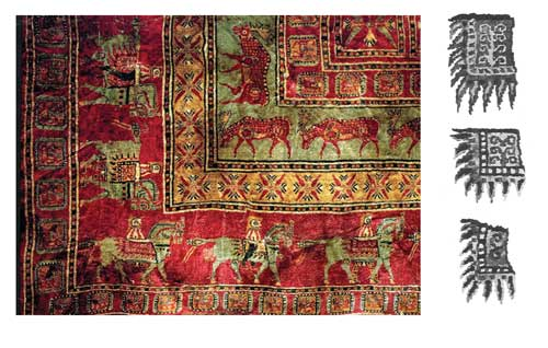 Pazyryk rug, detail shows the vibrant colors and details in the saddle covers.