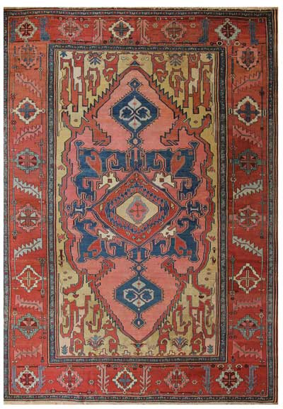 "antique serapi heriz area, circa 1800-1830, 9'8"" x 14'"
