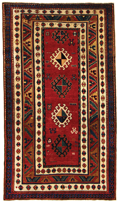 "armenian kazak, caucasus circa 1870, 4'8"" x 8'1"" identical to one in the hermann collection"