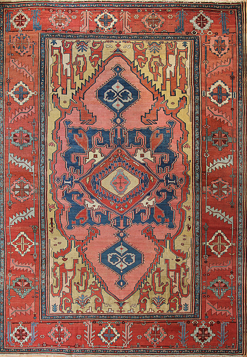 503 Antique Serapi, Heriz Area, 1800-1830, 9'8''x14'
