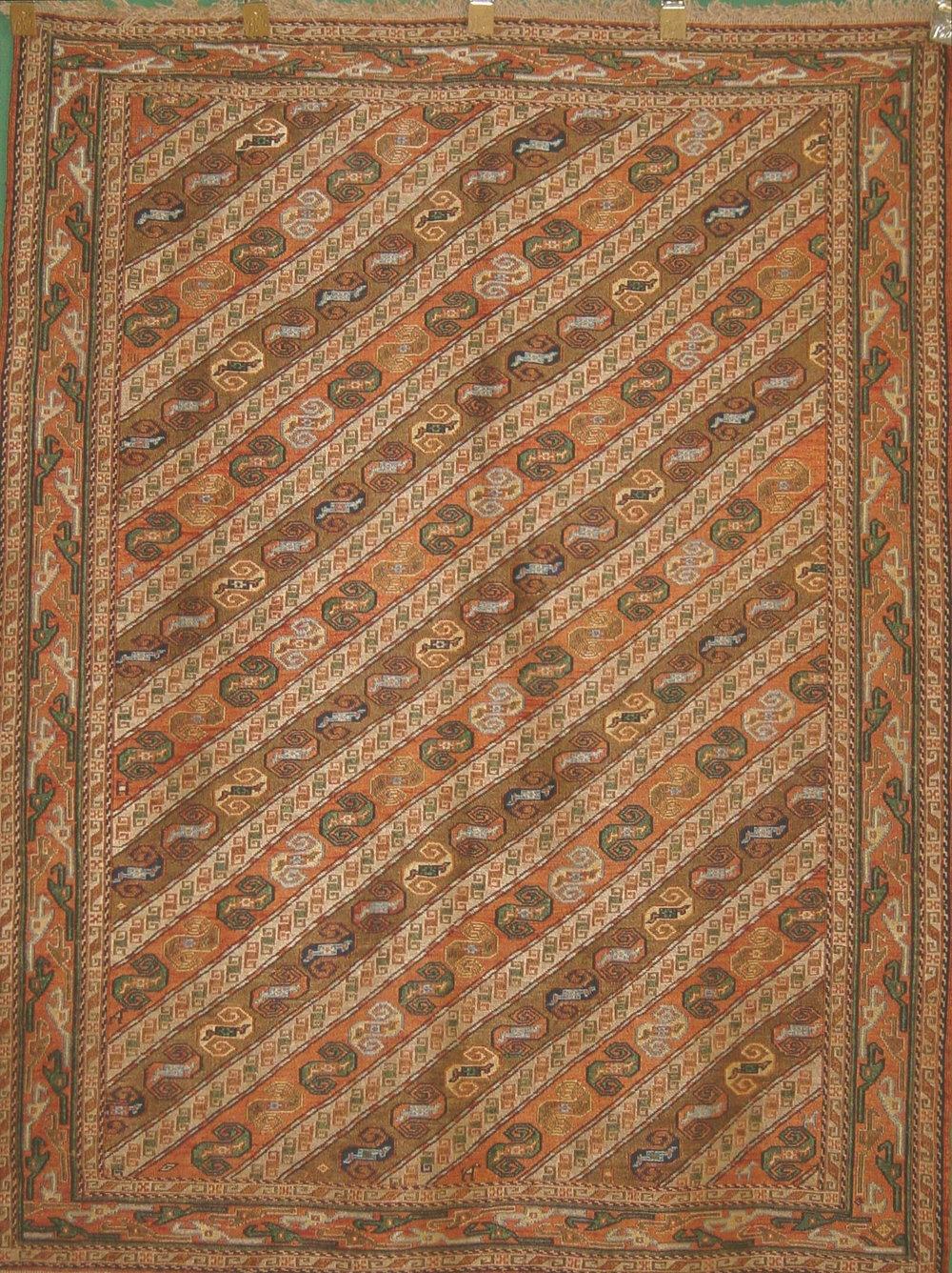 216 Shahsavan Ulmaz, Persia, Silk Embroidery, 3'11''x5'3''.JPG
