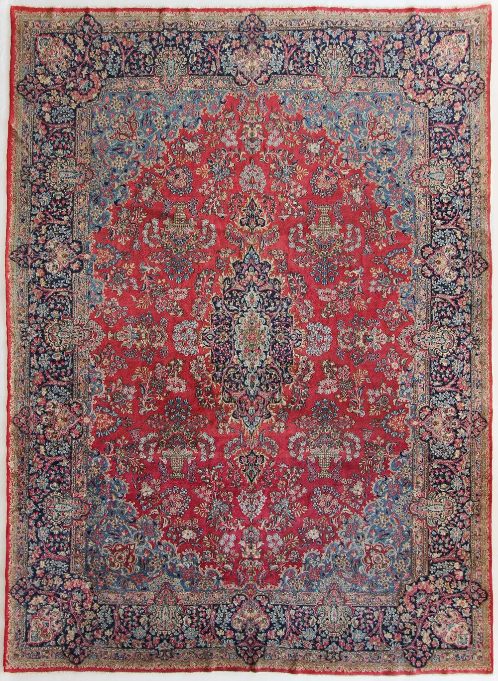 137 Persian Laver Kerman, circa 1920, 8'11''x11'1'