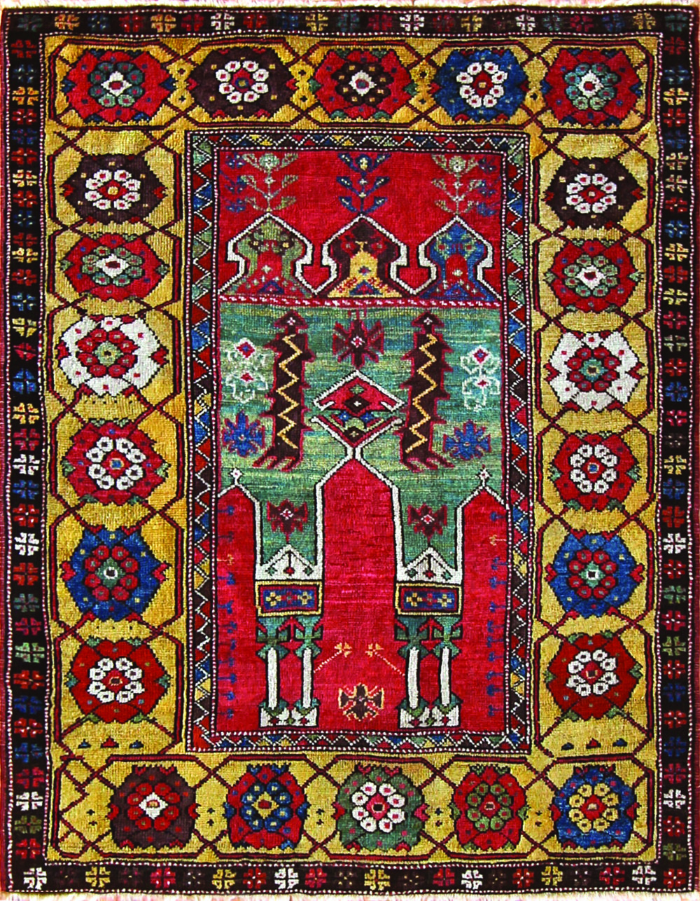 506 Antique Konya Prayer Rug, 1780-1800, 3'7''x5'