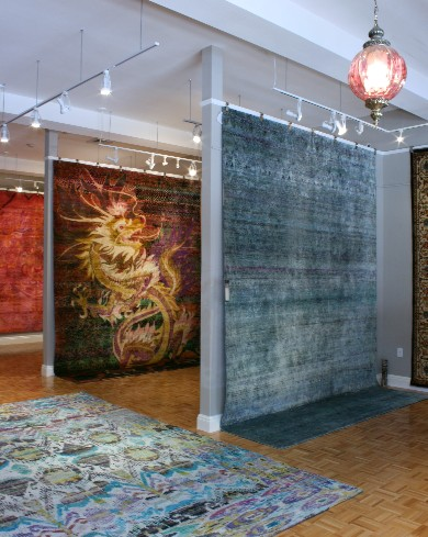 Luxury rug gallery Art to Walk On is among the first in the U.S. to present the newest offerings from award-winning designer rug companies. Shown, a selection of Kundan Silk rugs from Zollanvari.