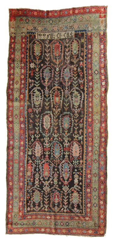 57 Armenian Village Carpet, dated 1885, 4'7''x10'3''