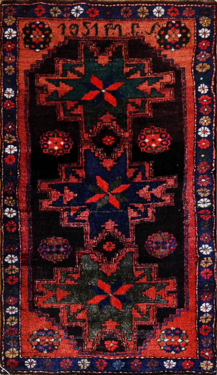 75 Armenian Village Kazak, dated 1951, purchased 1935, 3'6''x6'3''