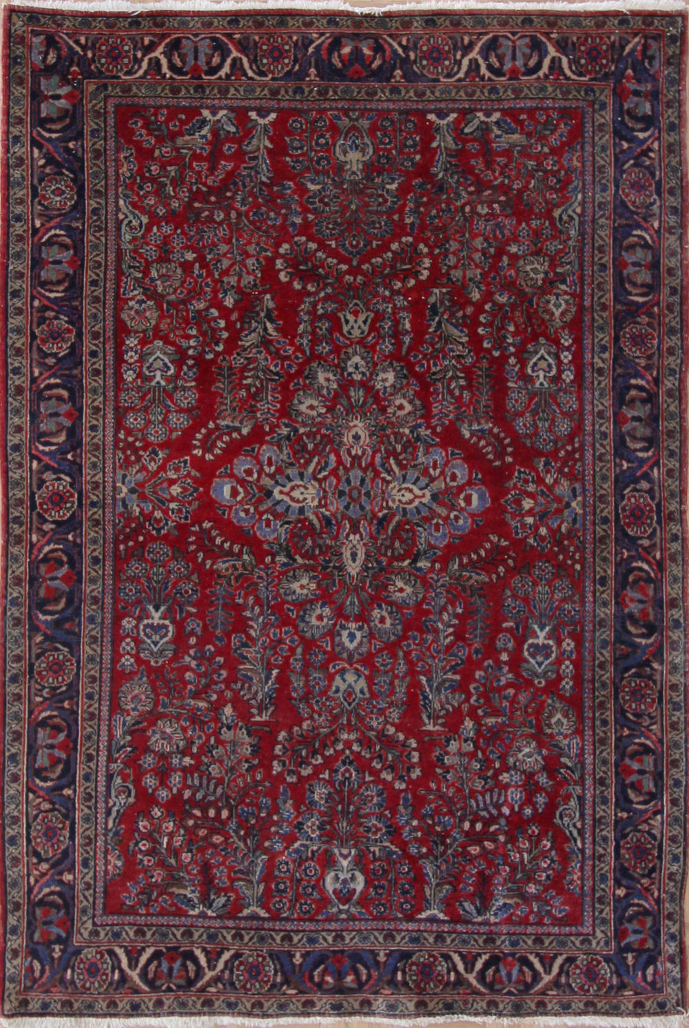 "878 Painted Sarouk 4'5""x6'5"""