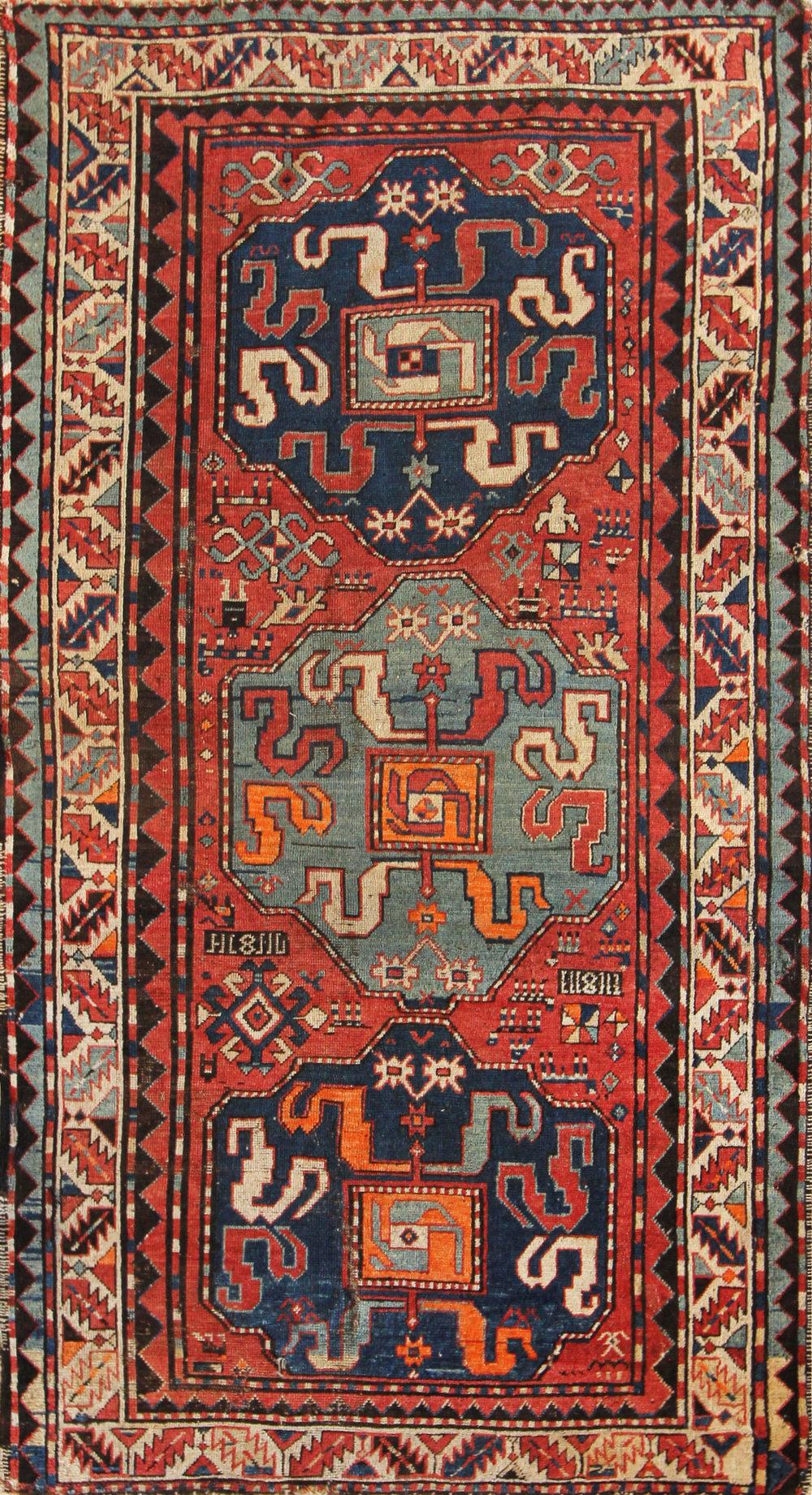 65 Armenian Cloudband Kazak, circa 1880, 4'2''x7'11''