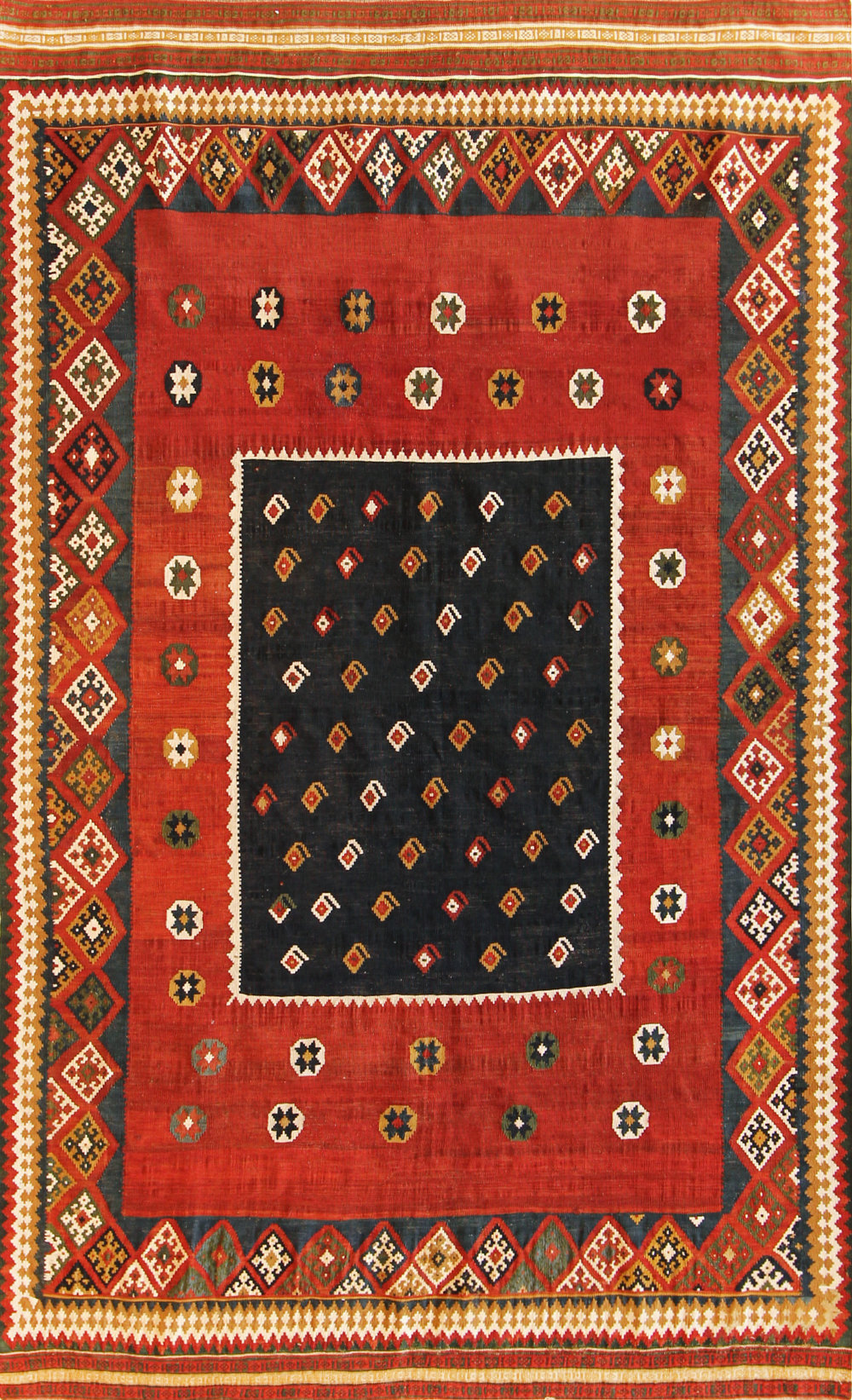358 Antique Persian Gashgai Kilim, 4'8''x7'6''