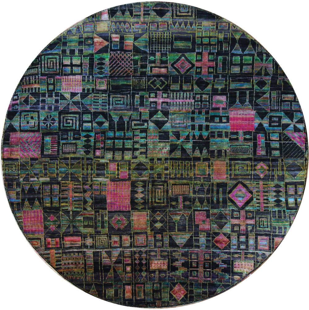 753 Kundan Silk, Jaipur, Round 6'10''x7'
