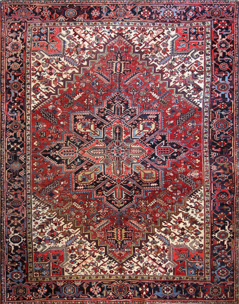 "961 Antique Heriz Persia 8'11""x11'2"""