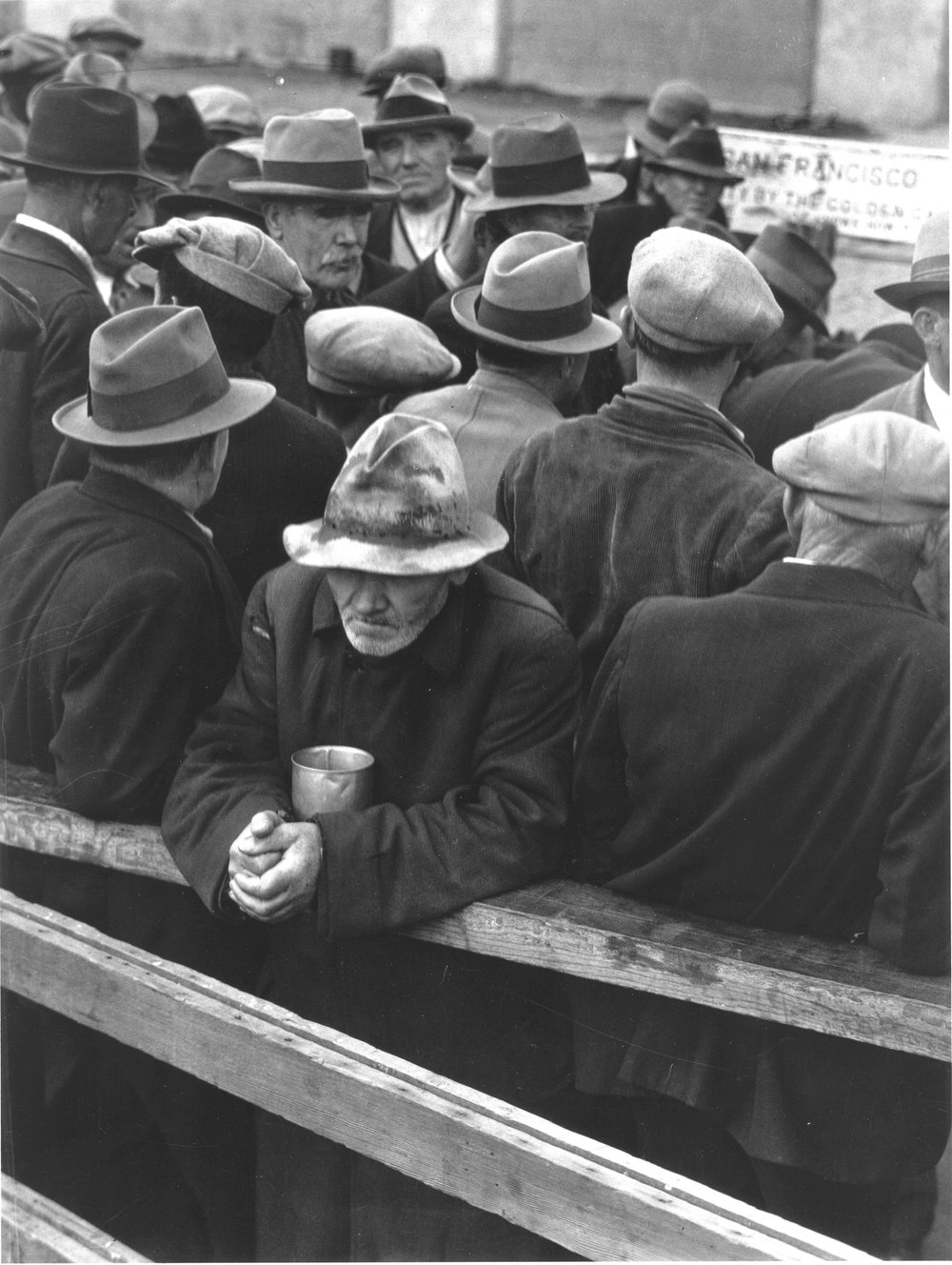 """Who said the free? Not me? Surely not me? The millions on relief today? The millions shot down when we strike? The millions who have nothing for our pay?  (Dorothea Lange, """"White Angel Bread Line"""" -- 1932)"""