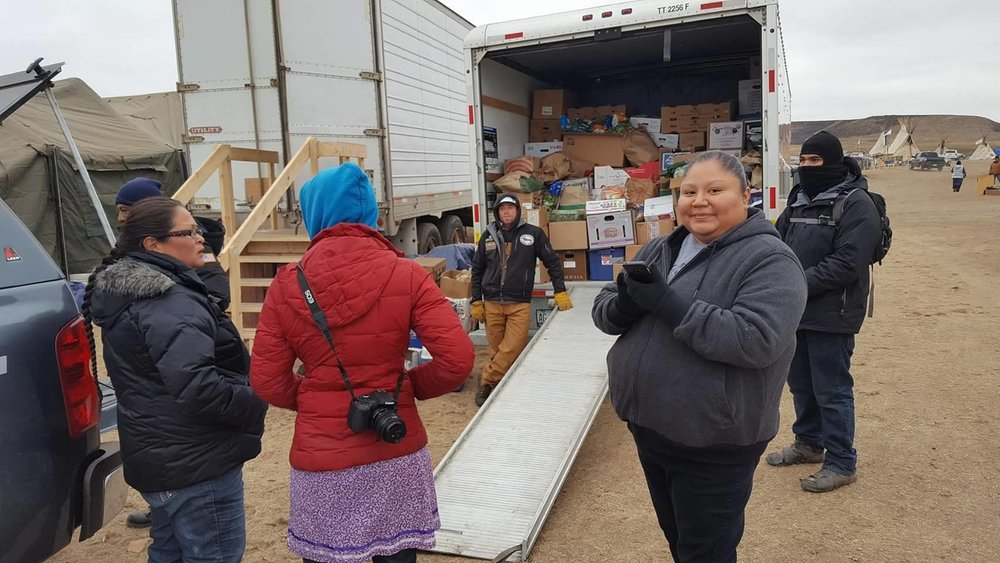 The U-Haul of supplies Hoon-Mana helped bring to Oceti Sakowin. Photo thanks to Hoon-Mana Polk
