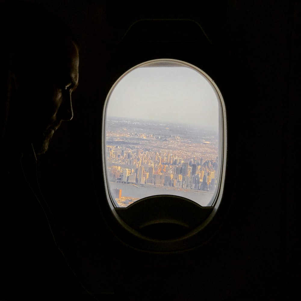 Looking across the aisle out over the city
