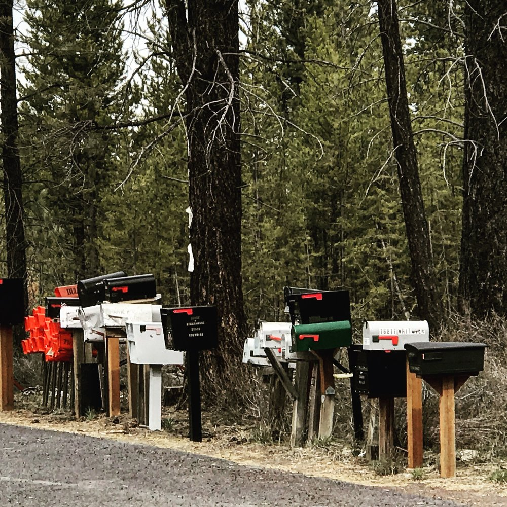 Country mailboxes on our way into the Badlands