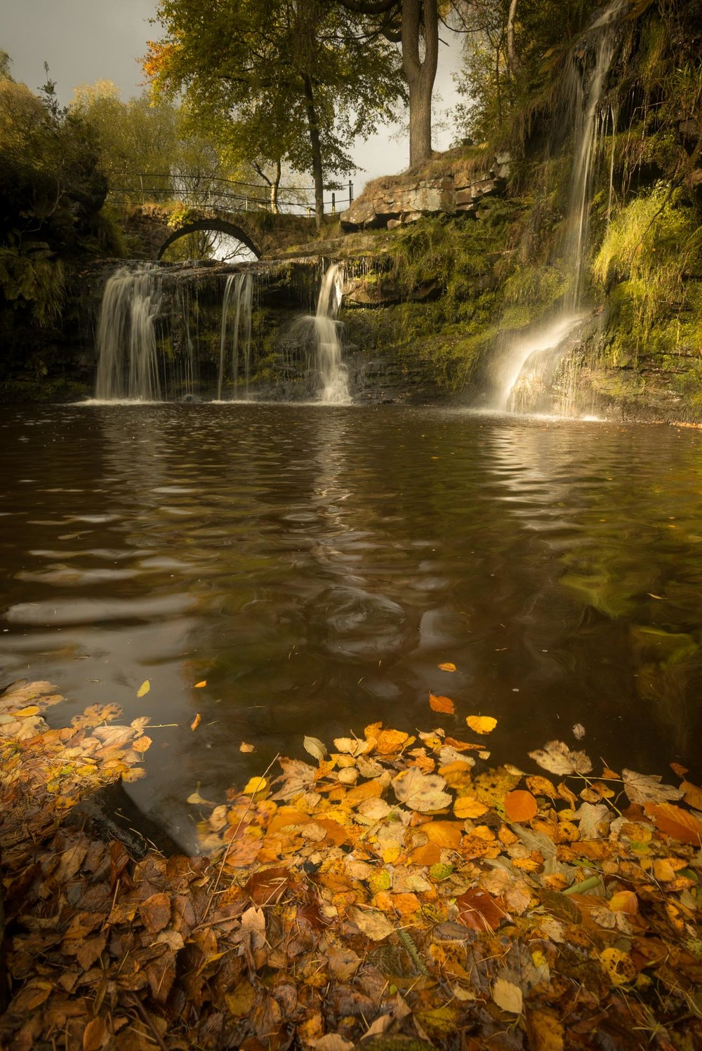 Calderdale waterfall in autumn