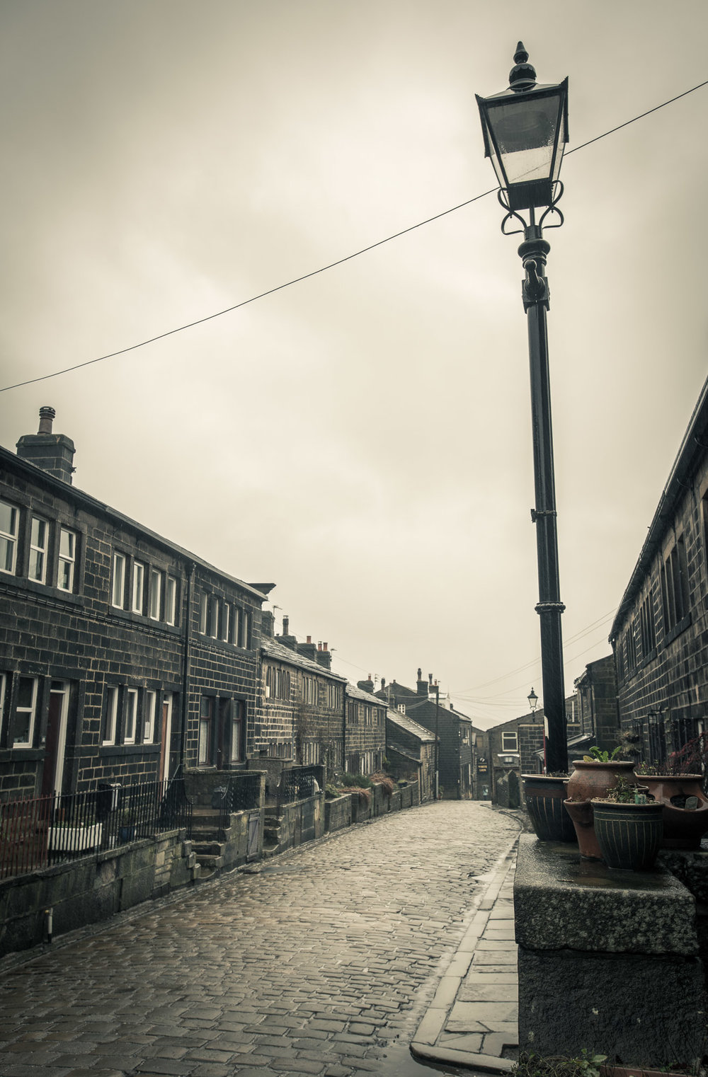 Traditional cobbled Yorkshire street
