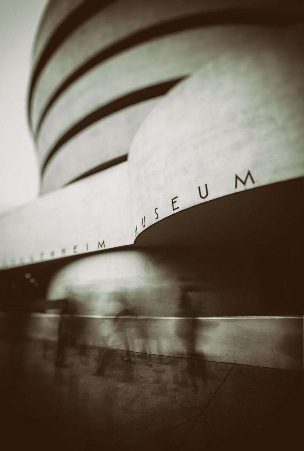 Walking past the Guggenheim in Monochrome