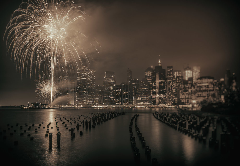 Firework display over the Manhattan skyline