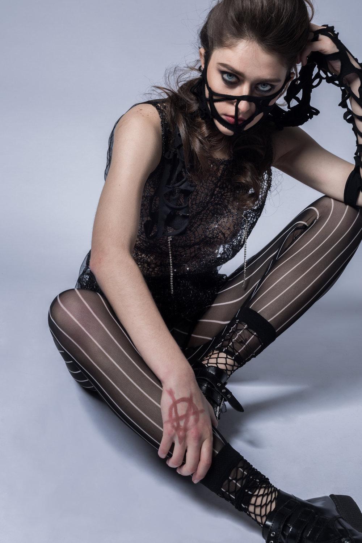 Keiko Koakutsu Daniel Silverstain (pants) T.U.K.S (shoes)  Makeup: Xiaofeng Zhu Hair: Lea Deloy Model: Inga Khurieva Photographer: Anushila Shaw