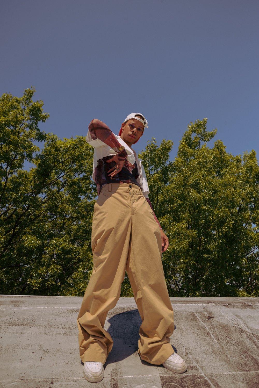 Tops by Victoria Aguilar, pants by Rochambeau  Photographer: DIego Palomino, MUA: Nana Hiramatsu, Model: Joel Kelly