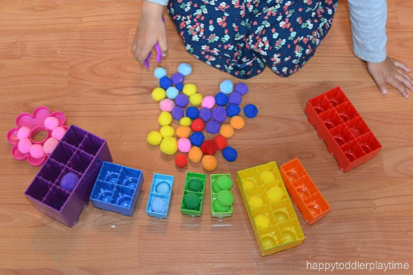 toddler learning with pom poms colors busy box educational center