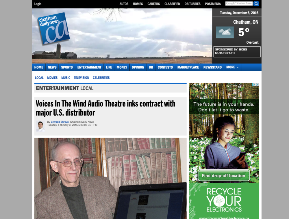 Chatham Daily News - Contract With Major U.S. Distributor - Voices In The WInd - The First Noelle Productions