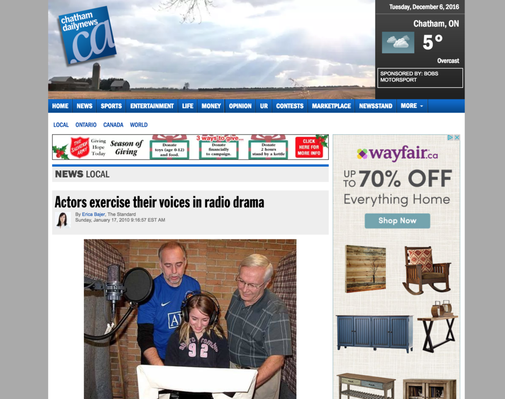 Chatham Daily News - Actors Exercise Their Voices - Voices In The Wind - The First Noelle Productions