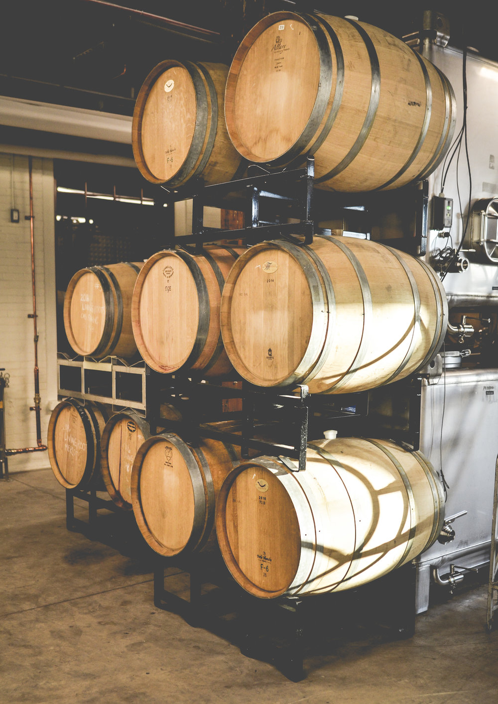 French barrels in the Living Roots Wine & Co. urban winery in Rochester, New York.