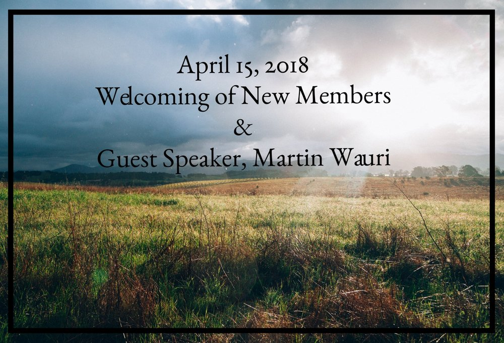Join us in service with guest speaker, Pastor Martin Wauri, and plan to stay after the service for food and fellowship as we welcome 9 new members into our church family.