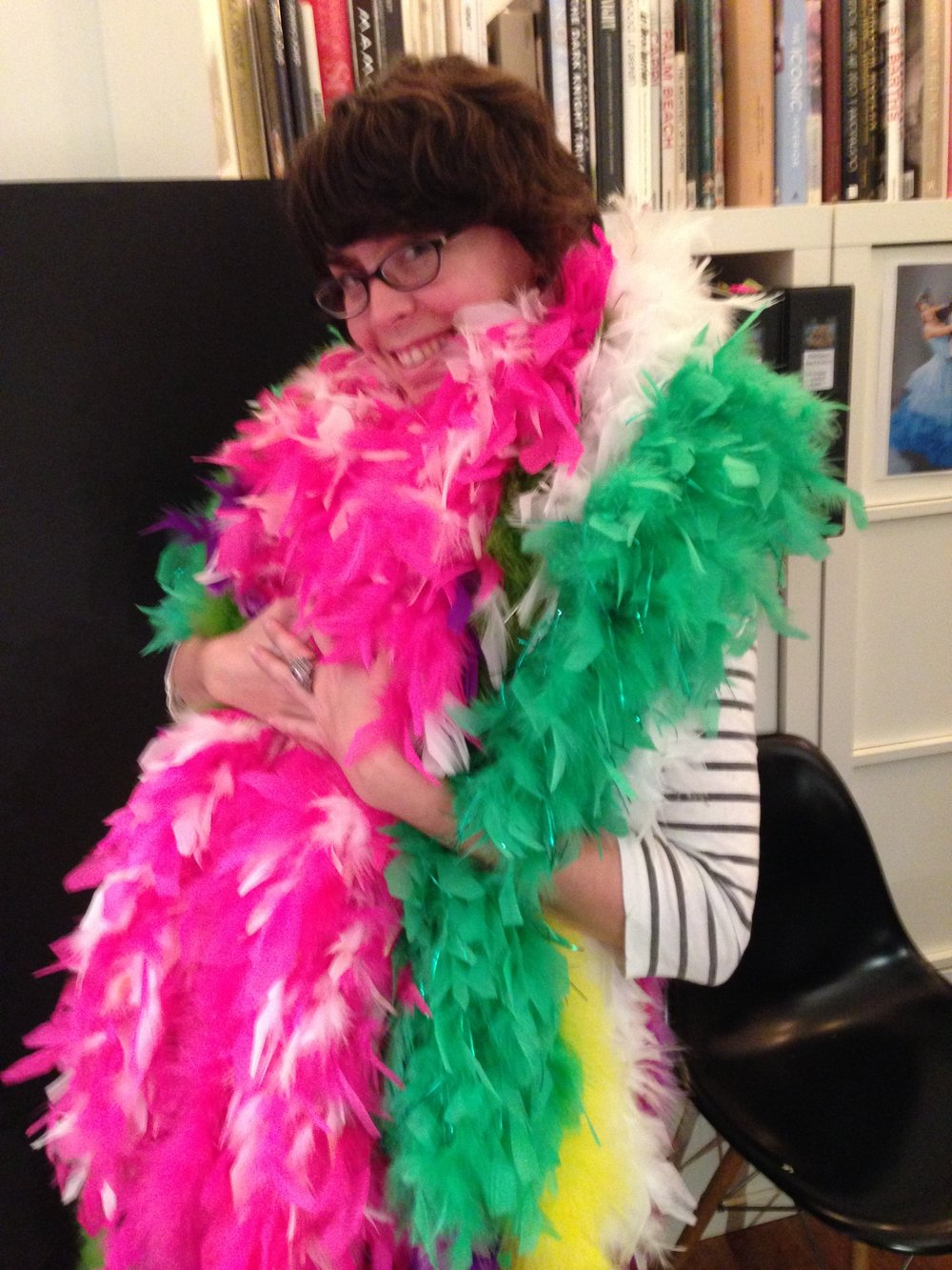 24 - me with feathers for Strictly Ballroom the musical.jpg