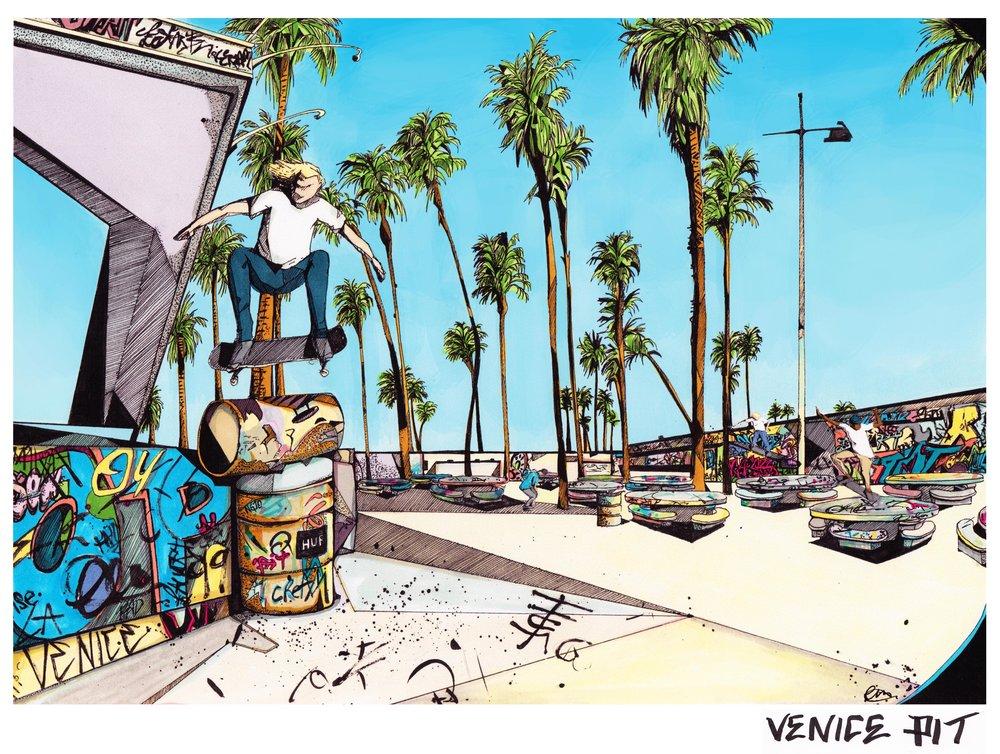 HUF skateboard illustration