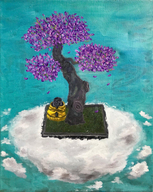 Buddha Meditating On A Floating Bonsai. 2018