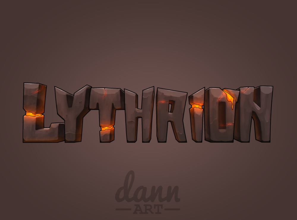 A stone and lava logo with a paint texture.