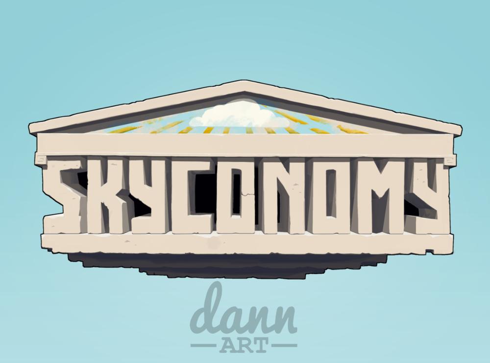 Skyconomy's logo is an example of high quality Dann Art digital painted art.