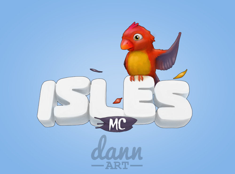 IslesMC's logo is a perfect example of Dann Art original branding for a Minecraft server.
