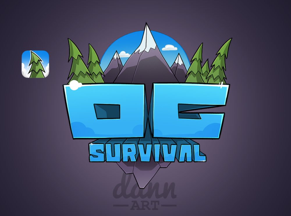 Clean cartoon style branding for OG Survival. Logo and icon pack.