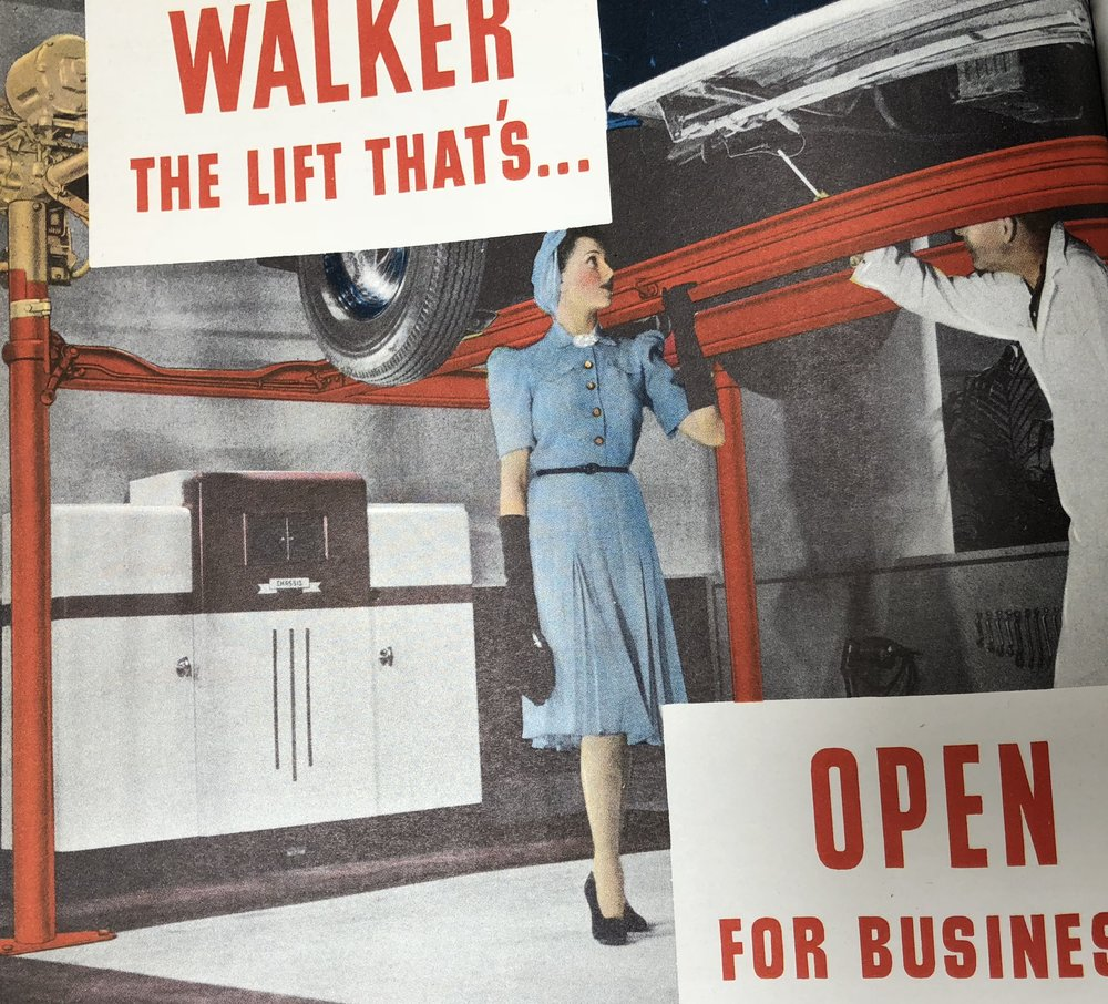 Walker ad with a 1938 Balcrank cabinet