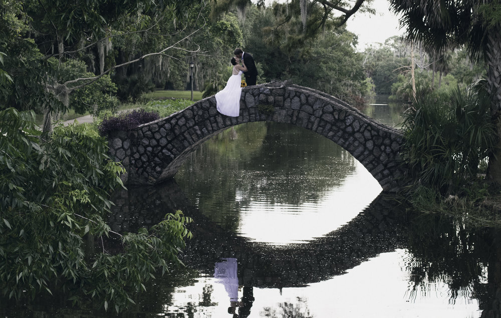 Romantic City Park Couple ties the Knot on Bridge overlooking Bayou