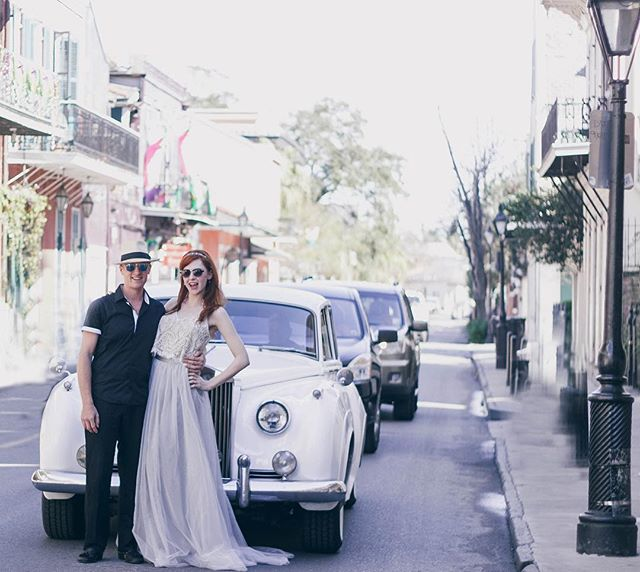Just casually stopping traffic. . . . . . #thatlacommunity #showmeyournola #frenchquarter #thatsdarling #alwaysneworleans #letselope #thebrideworeblue #ohwowyes #nolaweddingplanner #wednola #elopementwedding #neworleanselopement #destinationnola #onetimeinneworleans #rollsroyce #weddinggoals