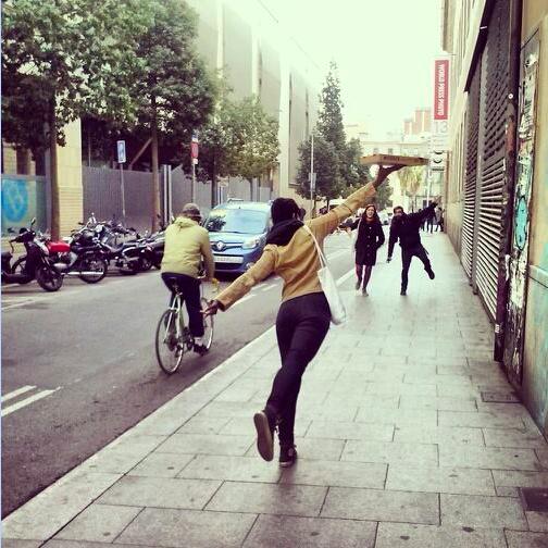 Pizza joy at the CCCB in Raval, Barcelona.