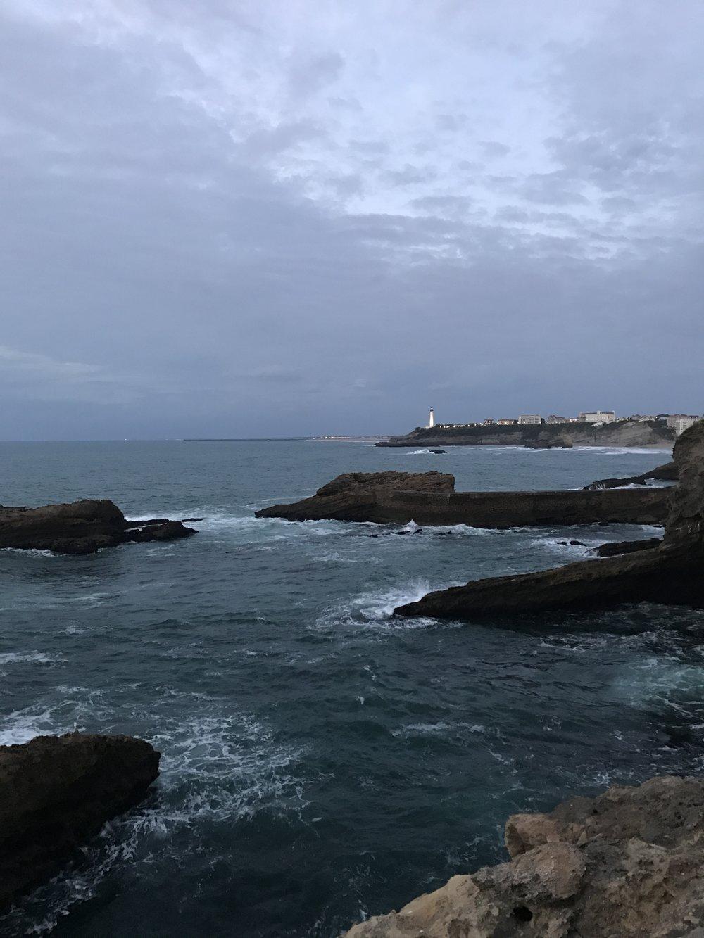 View from Rocher de la Vierge. Biarritz, France.