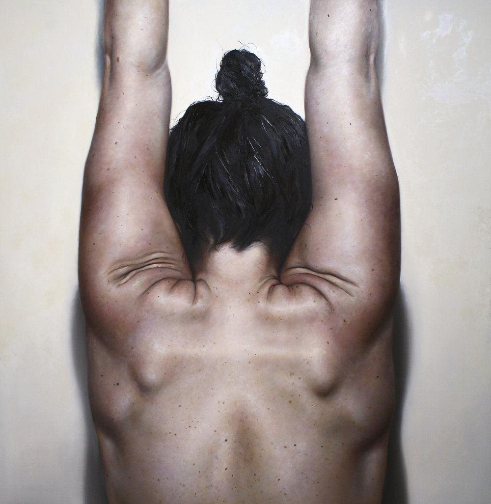 "Hide,  2015  54""x56"" oil on canvas"