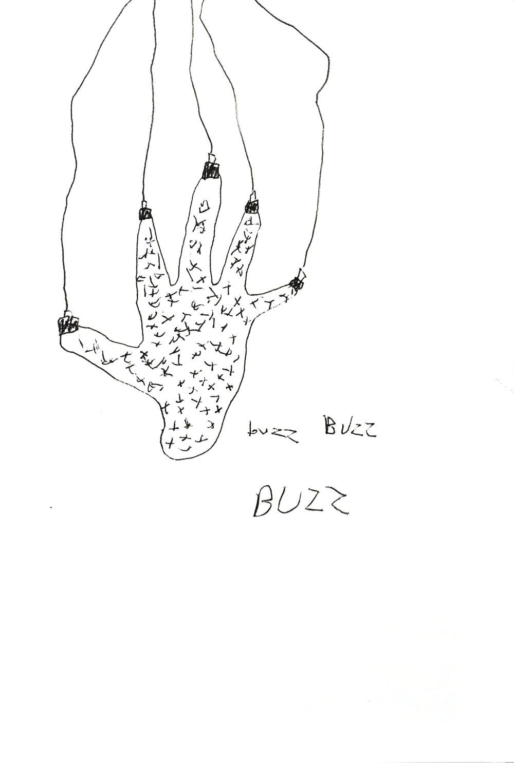 "buzz Buzz BUZZ, 2016  6""x9"" ink on paper"