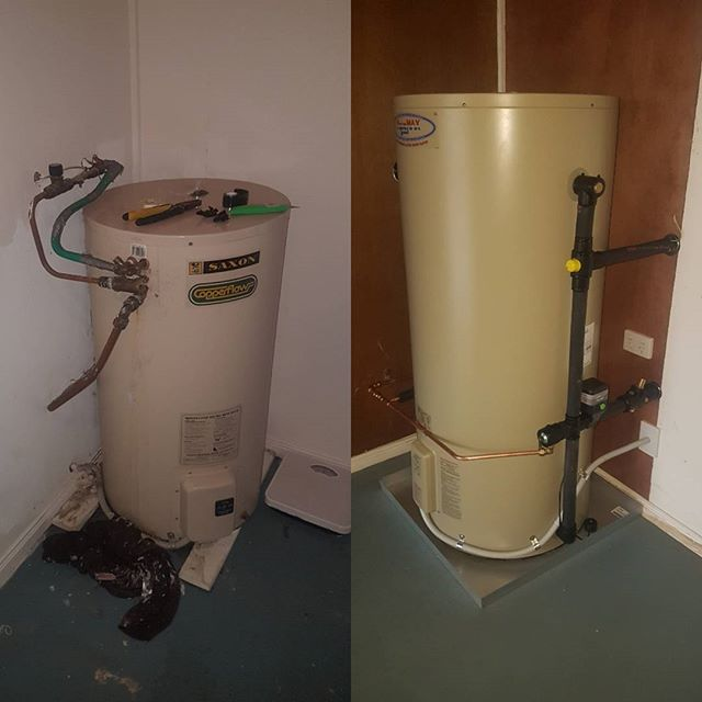 Hot water is our specialty!! 🛁 We pride ourselves on our high quality workmanship, attention to detail and cleanliness 🛠  We replaced this 20 year old Saxon with a new Aquamax and relocated it to the other side of the wall, complete with Safe Tray & Mildred Valve 👍 #teamlumika #brisbaneplumbers #plumbing #hotwater #femaleplumber