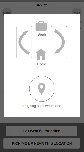 Wireframe pop-up to select destination.